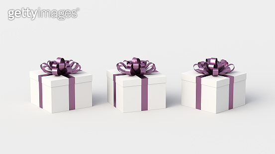 White gift boxes with purple ribbon, on white background. Concept for women and holidays