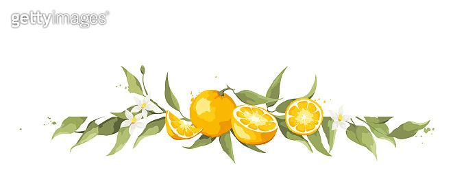 Summer card with orange branch.