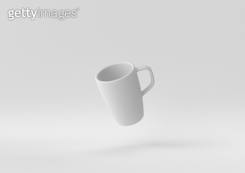 White Mugs or Coffee cup floating in white background. minimal concept idea creative. monochrome. 3D render.