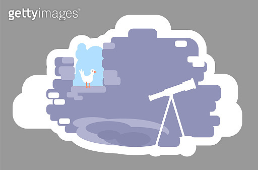 Astronomer tower 2D vector web banner, poster