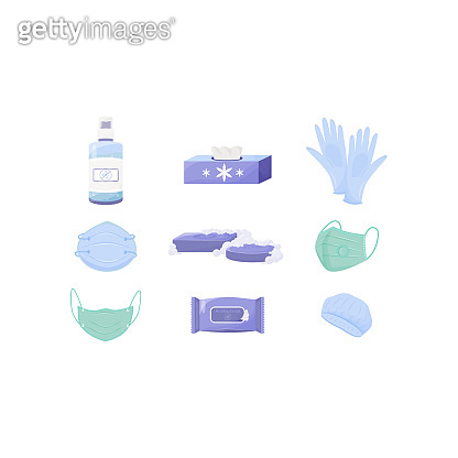 Personal hygiene and disinfection products flat color vector objects set