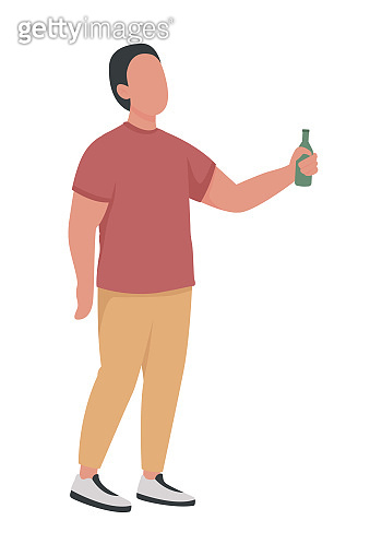 Male with alcohol bottle semi flat color vector character