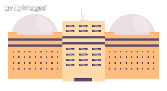 Industrial building cartoon vector illustration. Factory, observatory, college campus flat color object. Multistorey facility with dome shaped roof isolated on white background. Business headquarters