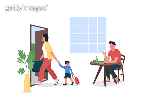 Mother with child leave alcoholic father flat color vector detailed characters