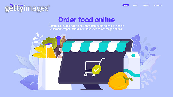 Buy food, order grocery online flat vector illustration, food delivery. Shopping basket with food and drinks, smartphone and characters illustration. Hero image. Supermarket online.