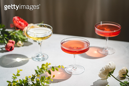 Sparkling wine or champagne glasses