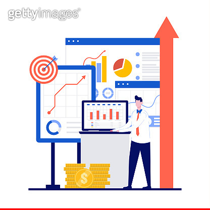 Business growth concept with character. Businesspeople trading and building to success. Finance and economy profit with coins. Modern flat illustration for landing page, infographic, hero image.