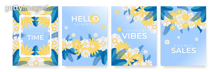 Trendy abstract floral templates for social media posts, mobile apps, banners design and web or internet ads. Hello Summer, Sale banner. Also for Mother's Day greeting card, Women's Day, Hello Spring