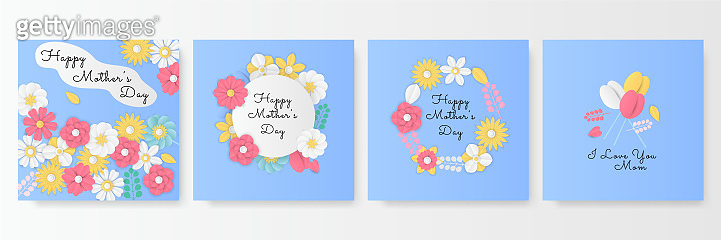 Happy Mother Day. Bright Gentle Hello Spring Paper cut style. Greeting Card with Blooming Flowers. Love You with Place for Your Text. Roses, Wildflowers, Summer Sale banner, social media post template