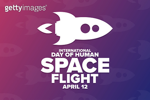 International Day of Human Space Flight. April 12. Holiday concept. Template for background, banner, card, poster with text inscription. Vector EPS10 illustration.