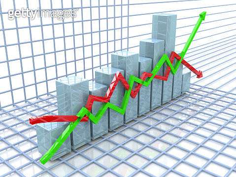 Financial chart in the design of information related to business and economy. 3d illustration