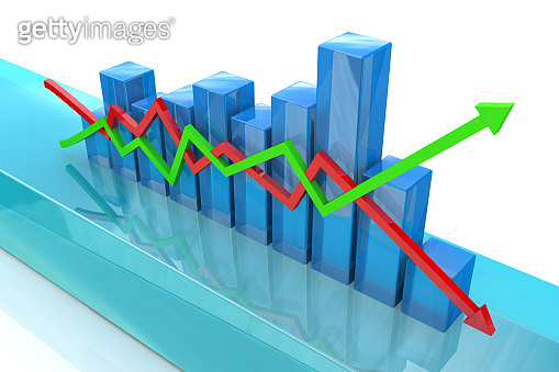 Blue bar chart and arrows depicting growth or fall of profits in the design of information related to business and economy. 3d illustration