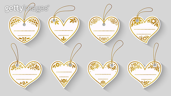 Heart shape love white gold label craft sale tag