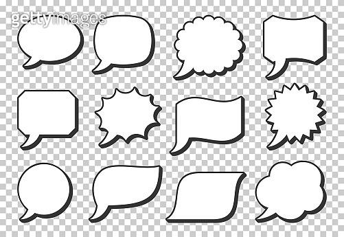 Pop art speech bubble icon set retro frame shapes