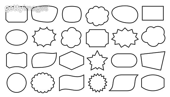 Speech bubble shape text frame box black line set