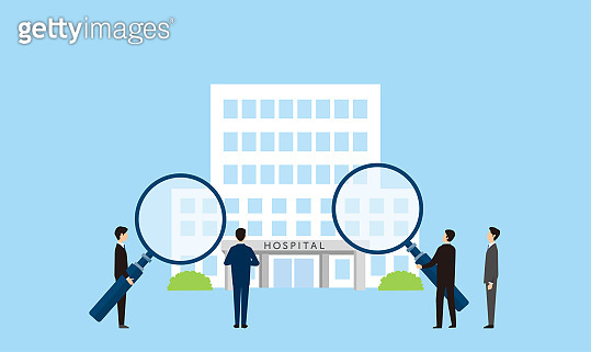 hospital research image, man holding magnifying glass, vector illustration, blue background