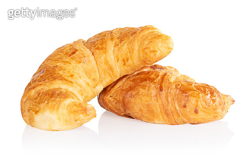 Fresh croissants isolated on white background