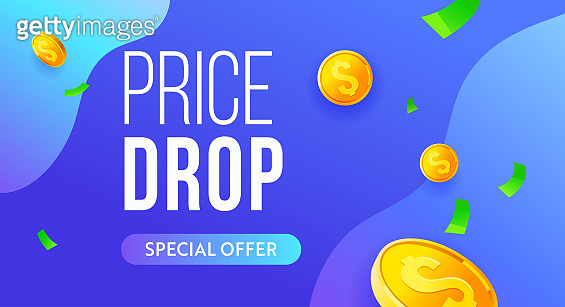 Price drop red vector banner, sale poster design. Super offer business finance crisis concept. Financial falling price vector banner