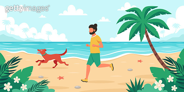 Leisure time on beach. Man jogging with dog. Summer time. Vector illustration