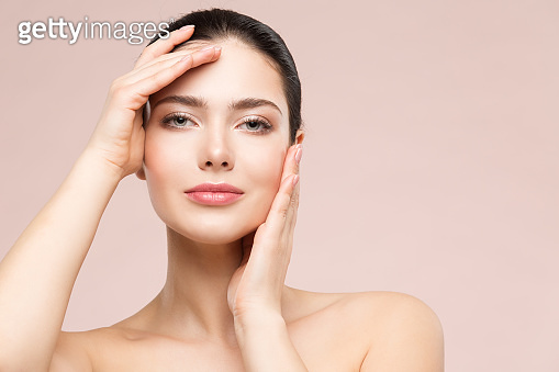 Woman Beauty Healthy Skin Face Portrait. Hand touching Clean perfect Face. Fresh Skin Care and beauty Treatment