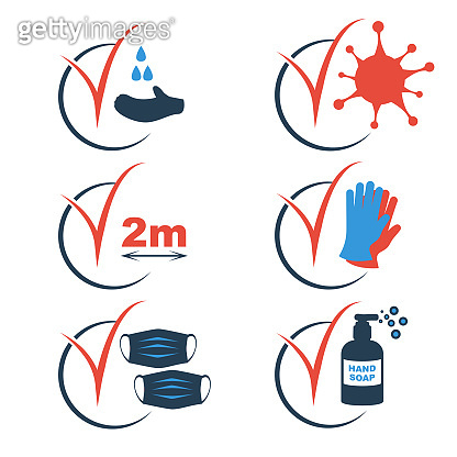 Set black icon checkmark protection and disinfection