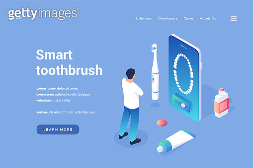 Specialized smart toothbrush. Electro brush with gum massage and control via mobile application