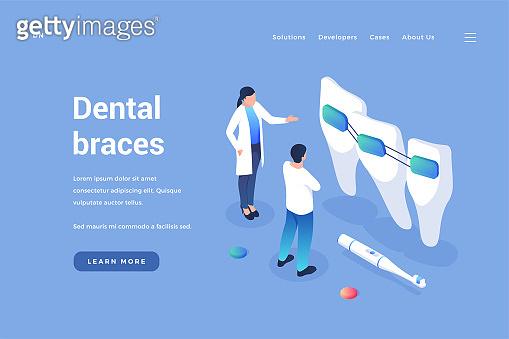 Dental orthodontics braces. Dentist reviews quality of headgears and improvement in bite