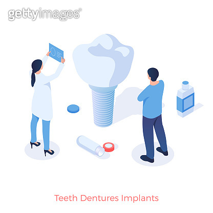 Teeth dental implants. Orthodontist test new artificial tooth for quality