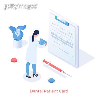 Dentistry patients card. Dentist examines dental tomograms on digital stomatology document
