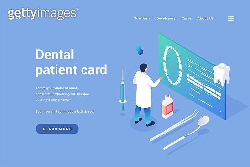Patients digital dentistry card. Dentist examines clients dental tomograms on online healthcare document