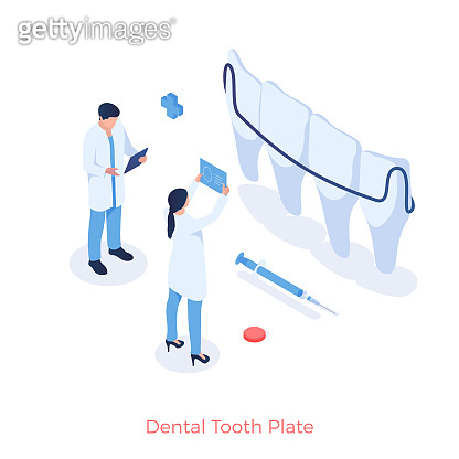 Dental tooth plate in dentistry. Dentists look at xrays of mouth to place jaw braces