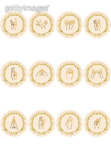 Vector set of icons for social media story highlight covers - design templates for lifestyle, and  bloggers,  creative entrepreneurs, yoga studios, spa and religious institutions.