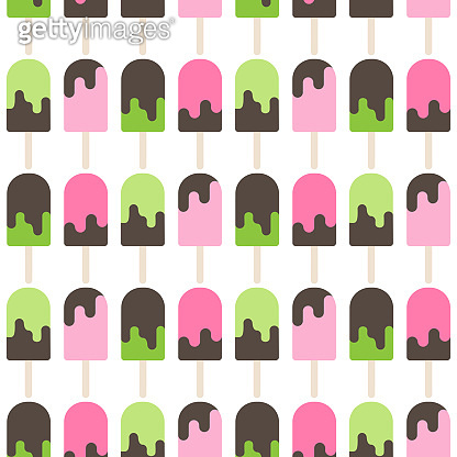 ice cream lolly seamless pattern on white background. Popsicle