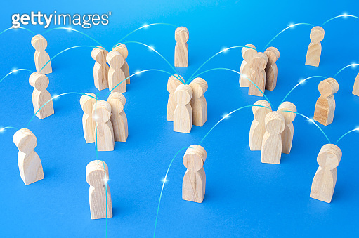 Groups of people and persons connected by lines form a social network. Communication, interaction and involvement of specialists. Contacting, communicate exchange of information. Relationship concept