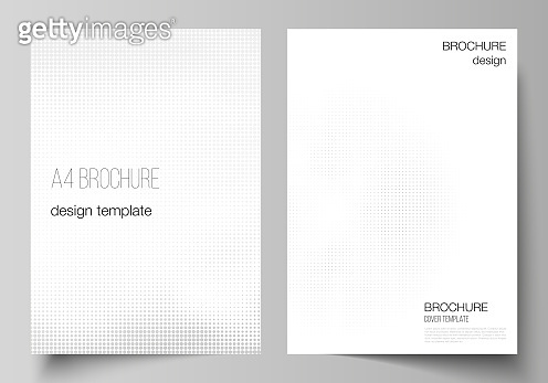 Vector layout of A4 cover mockups design templates for brochure, flyer layout, cover design, book design, brochure cover. Halftone effect decoration with dots. Dotted pattern for grunge decoration.