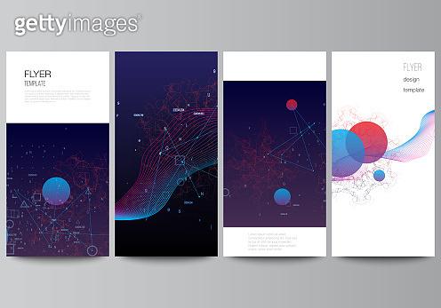 Vector layout of flyer, banner templates for website design, vertical flyer design, website decoration backgrounds. Artificial intelligence, big data visualization. Quantum computer technology concept