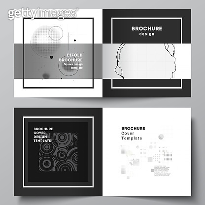 Vector layout of two covers templates for square bifold brochure, flyer, cover design, book design, brochure cover. Abstract technology black color science background. Digital data visualization.