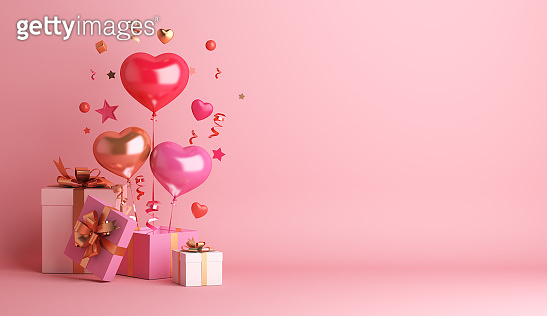 Happy valentines day decoration with gift box, heart shape balloon with copy space, 3D rendering illustration