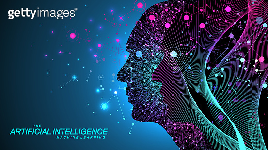 Artificial intelligence with Digital Brain, Neural Networks and Learning Processing Big Data, Machine Learning concept. Binary data flow on blue background. Vector illustration