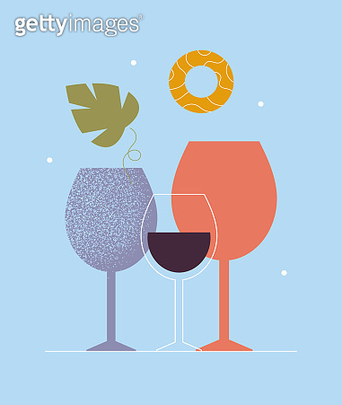 Abstract modern poster of wine glass. Cocktail, alcohol beverage. Wine tasting concept. Invitation template for an event, festival. Graphic design for restaurant, bar.