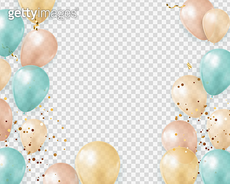 Party Glossy Holiday Transparent Background with Balloons and confetti. Vector Illustration