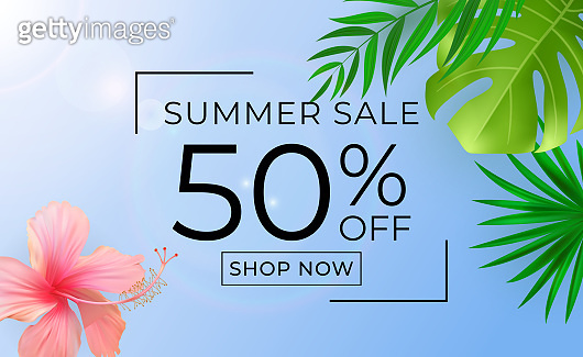 Summer sale poster. Natural Background with Tropical Palm and Monstera Leaves. Vector Illustration
