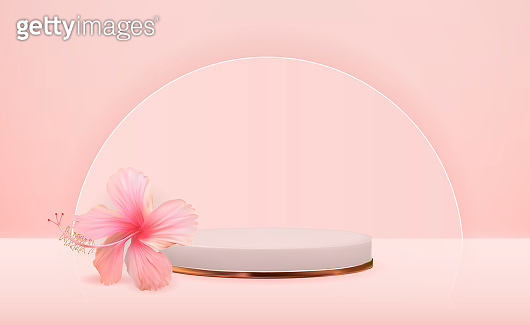 White 3d  pedestal background with hibiscus flower for cosmetic product presentation, fashion magazine. Copy space vector illustration