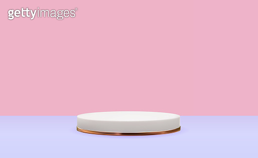 Realistic 3d white pedestal with gold ring over pink background. Trendy empty podium display for cosmetic product presentation, fashion magazine. Copy space vector illustration