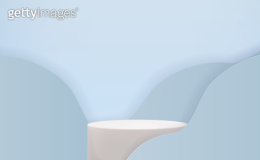 Realistic 3d pedestal over blue trendy wave background. Empty podium display for ads cosmetic product presentation. Vector illustration