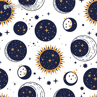 Planet star, sun and moon vector astrology astronomy luxury celestial seamless pattern.