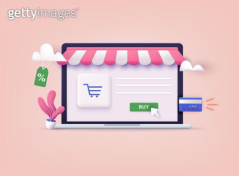 Online shopping.Design graphic elements, signs, symbols. Mobile marketing and digital marketing. 3D Web Vector Illustrations.