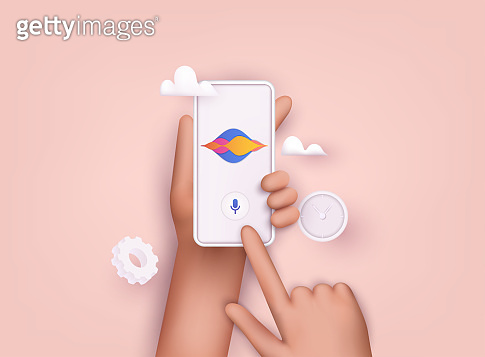 Hand holding mobile smart phone with digital voice assistant. 3D Web Vector Illustrations.