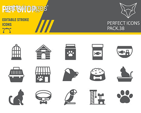 Pet Shop glyph icon set, pet store collection, vector graphics, logo illustrations, pet shop vector icons, animal signs, solid pictograms, editable stroke.