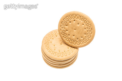 cookie isolated on white background. round biscuit cut out. sweet food concept